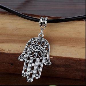 Jewelry - Hamsa Fatima Evil Eye Pendant Leather Neck…
